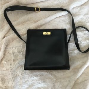 Black Real Leather Structured Crossbody